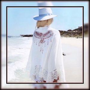 White Lace Eagle Design Kimono!